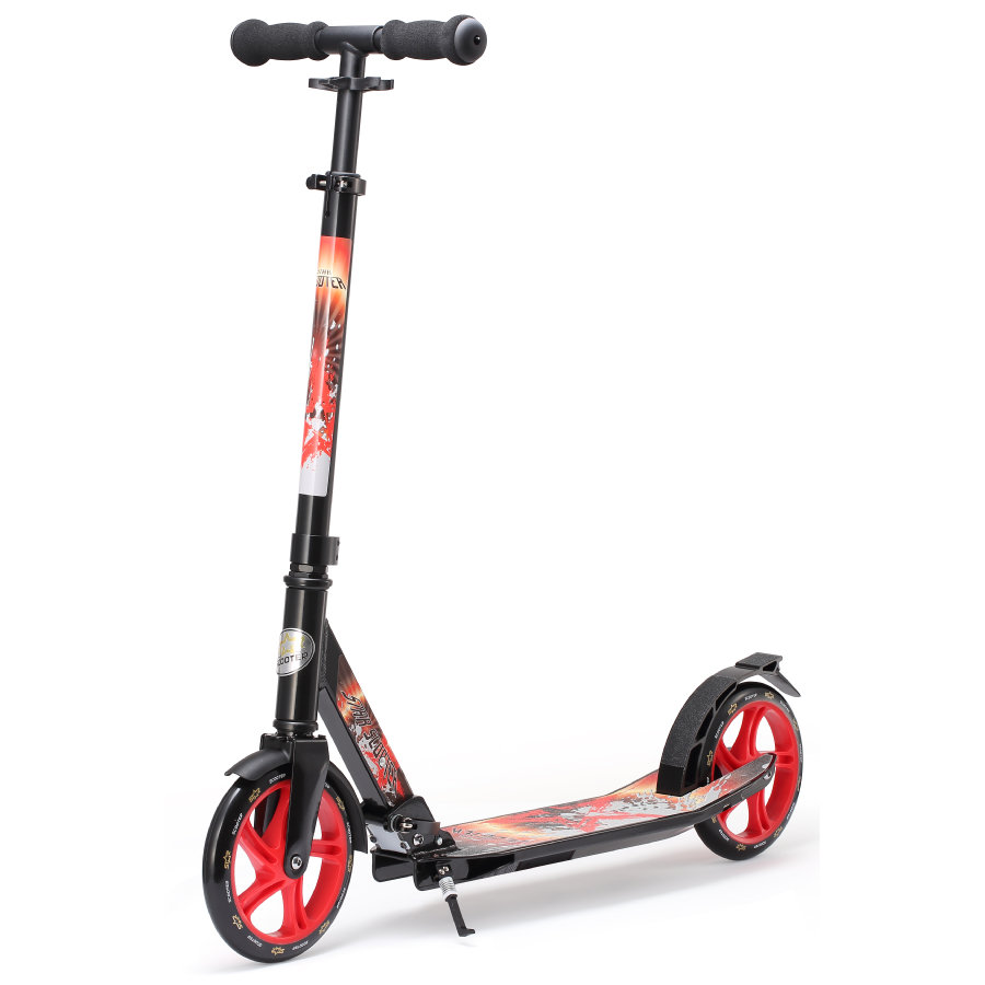 bikestar STAR-SCOOTER® Premium Design City Scooter 205mm Schwarz Rot