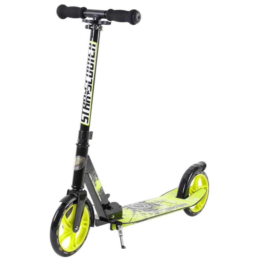 bikestar Trottinette enfant STAR-SCOOTER® XXL city 205 mm noir/vert
