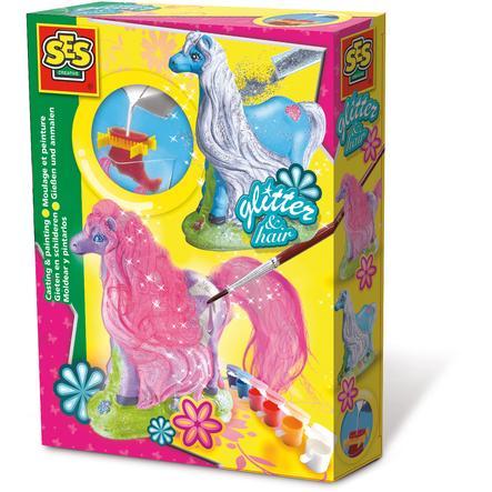 SES Creative® Gipsfigur - Glitzerpferd mit Mähne