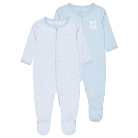 name it Boys Schlafoverall 2er-Pack cashmere blue
