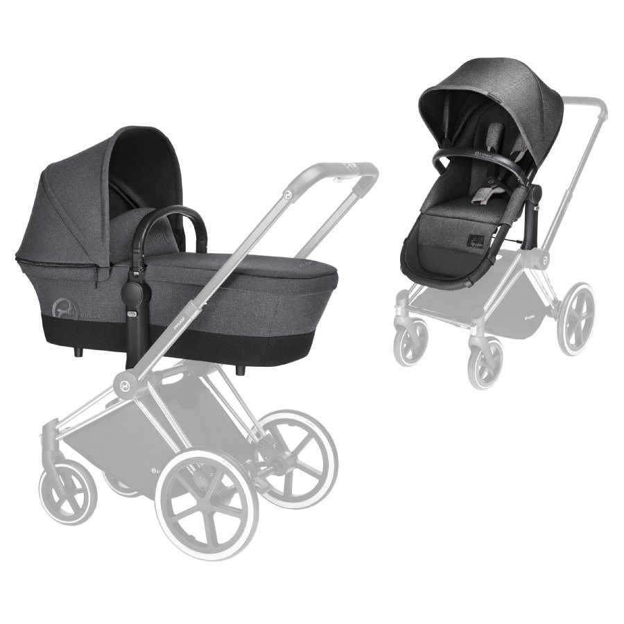 cybex PLATINUM Kinderwagenaufsatz & 2-in-1 Sitz Priam Manhattan Grey-mid grey