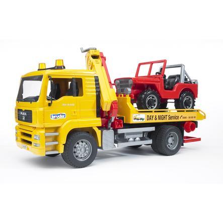 bruder® MAN TGA Abschlepp-LKW mit Geländewagen 02750