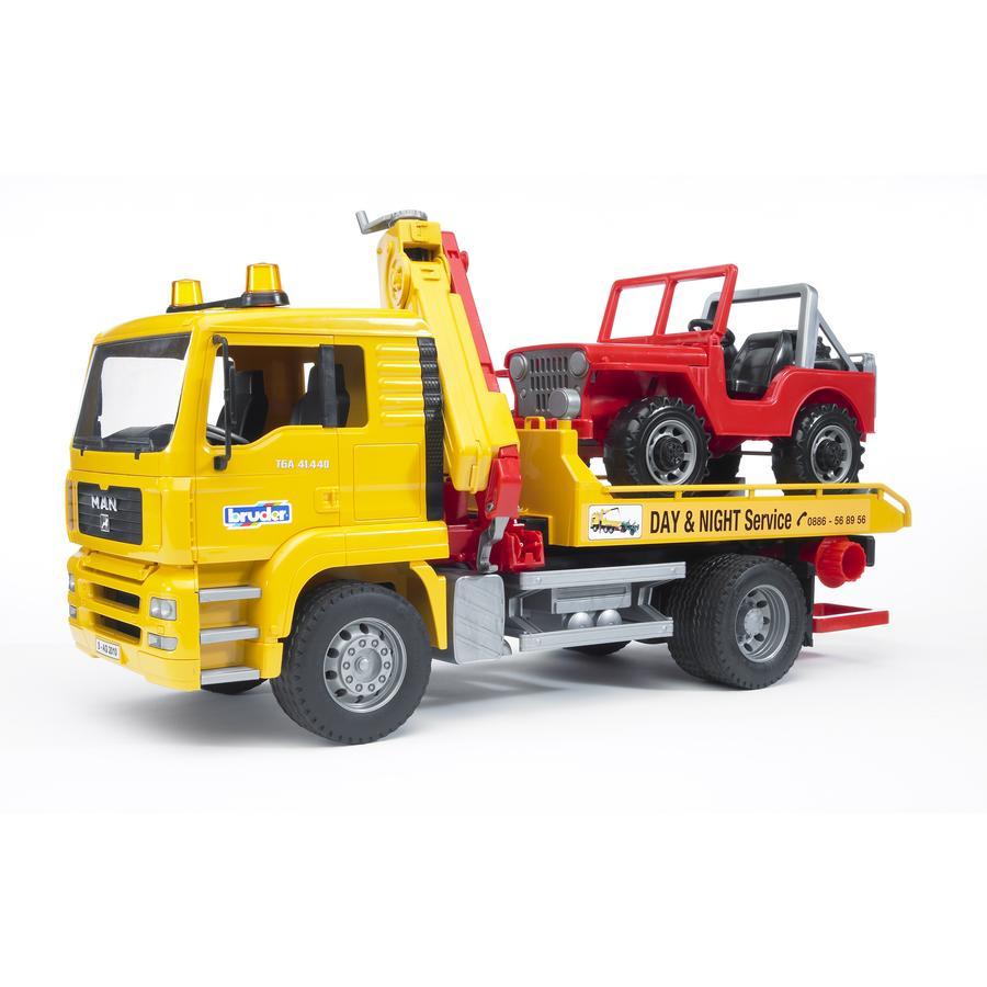 bruder® MAN TGA Camión grúa con vehículo todoterreno 02750