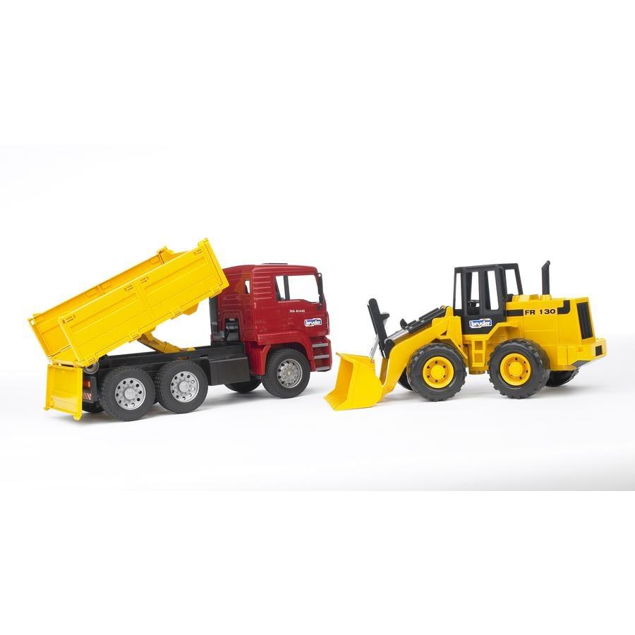 bruder® MAN TGA Kipplastwagen mit Gelenkradlader FR130 02752