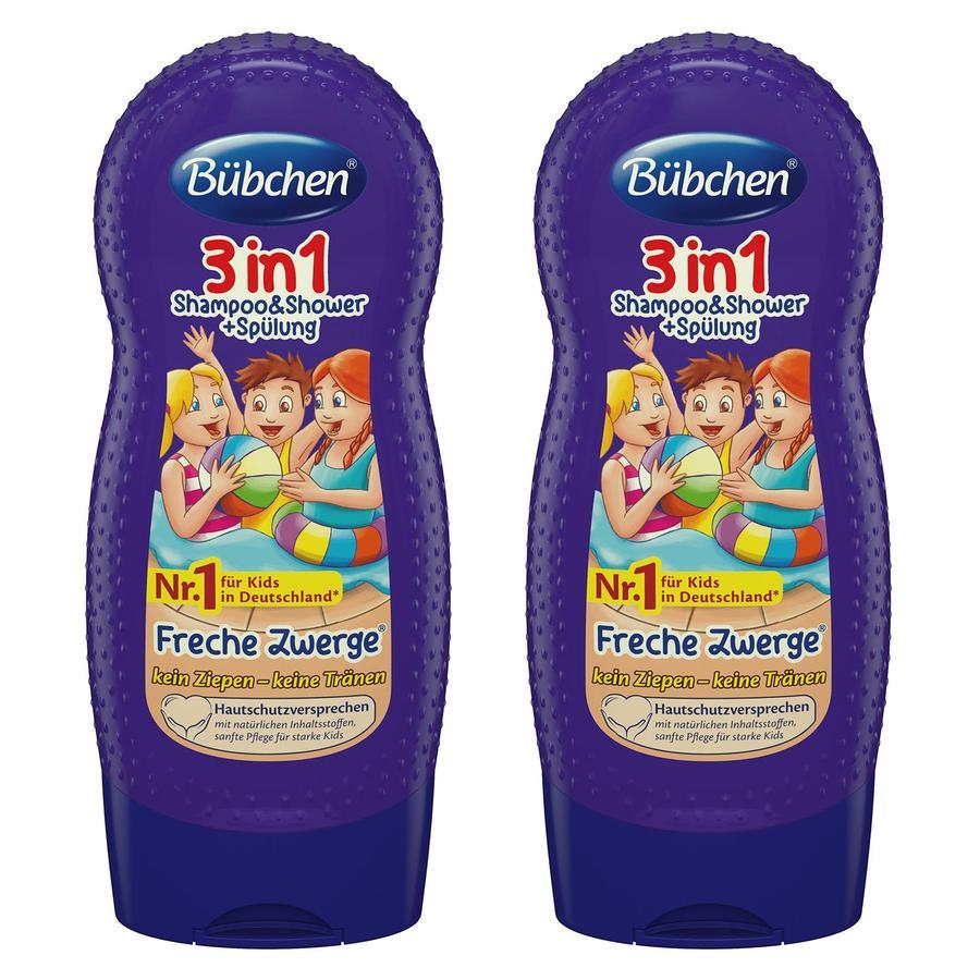 Bübchen Kids 3in1 Shampoo & Shower plus Spülung Freche Zwerge 2 x 230 ml