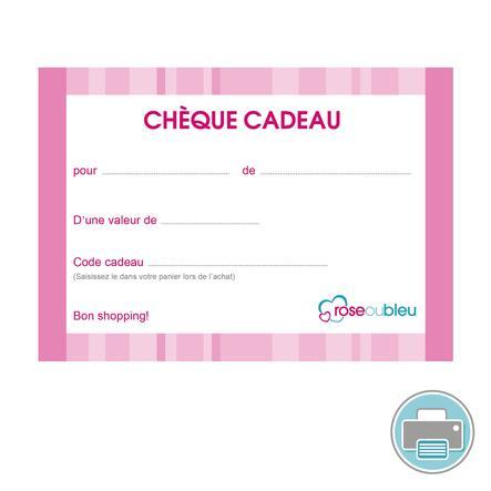Chèque-cadeau (à imprimer) rose