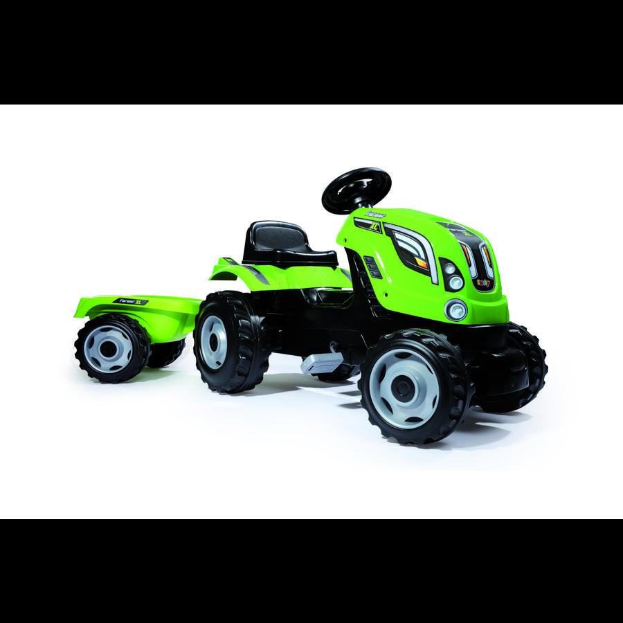 Smoby Tracteur enfant pédales Farmer XL, remorque, vert