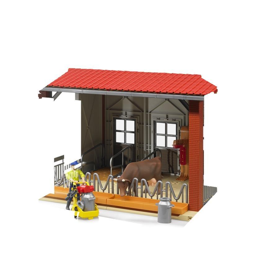 bruder® Kuhstall mit Melkmaschine, Kuh und Figur 62621