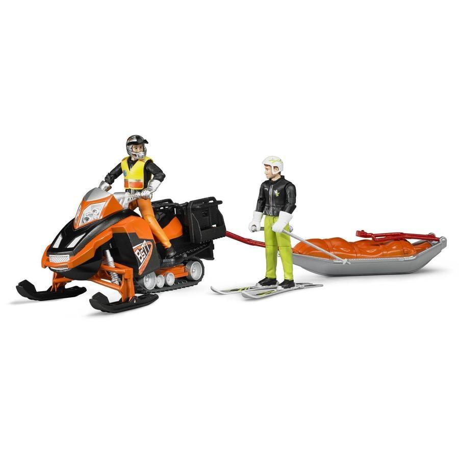 bruder® snøscooter med fører, pulk og skiløper 63100