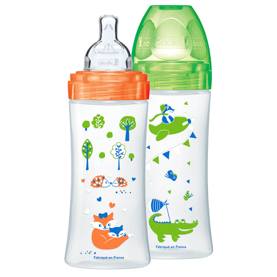 dodie Coffret 2 biberons Sensation+ sans BPA orange/vert, 330 ml