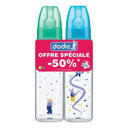 dodie Trinkflasche türkis / grün mit runden Sauger 330 ml Gr. 3 Doppelpack ab dem 6. Monat