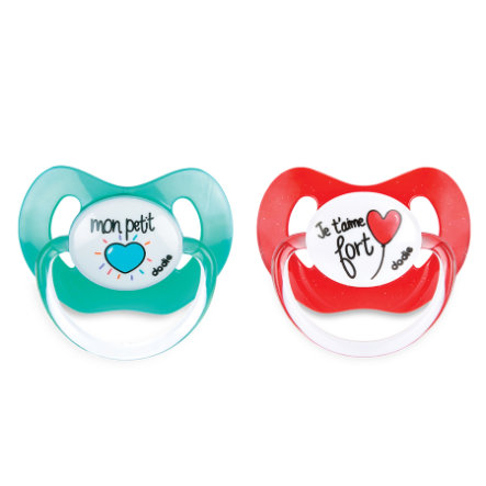 dodie Sucettes physio silicone, +6 mois coeur turquoise/rouge lot de 2