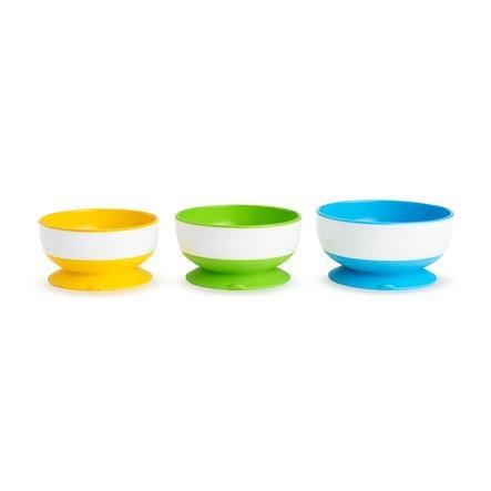 munchkin Stay-Put® antislip schalen met zuignap 3 pack kleurige