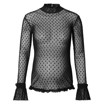 SUPERMOM Mesh Spot zwart shirt met lange mouwen