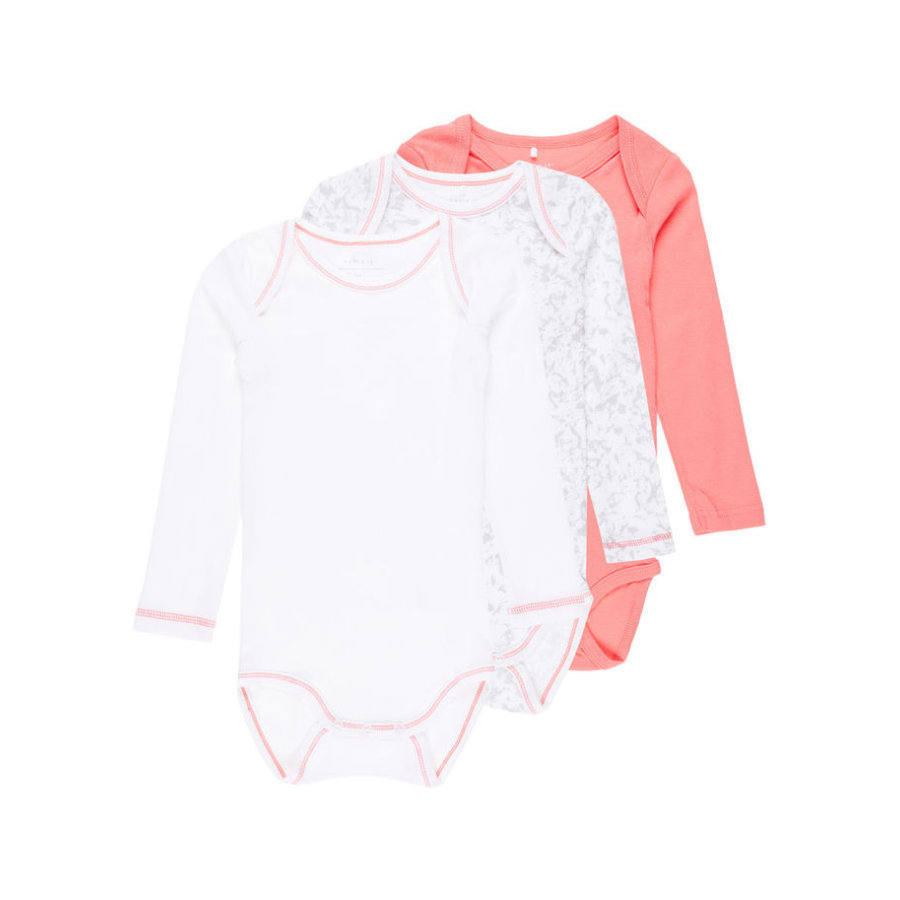 name it Girls Langarm-Body 3er-Pack sunkist coral