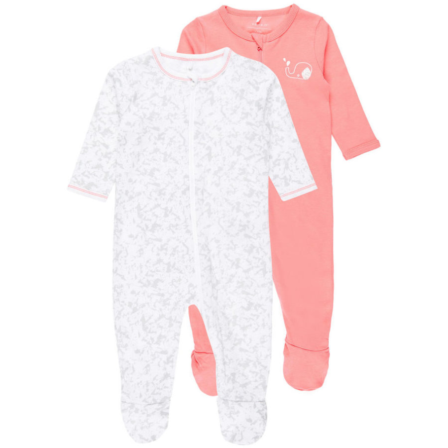 name it Girls Schlafoverall 2er-Pack sunkist coral