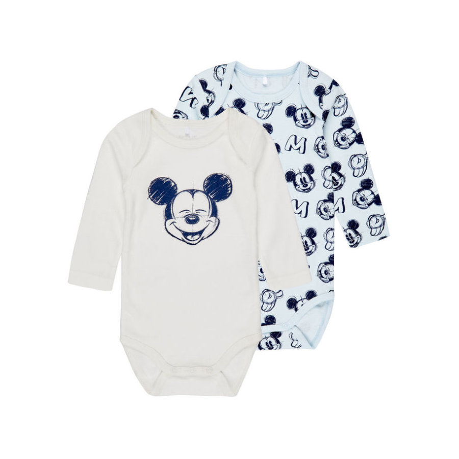 name it Boys Langarm-Body 2er-Pack Mickey baby blue