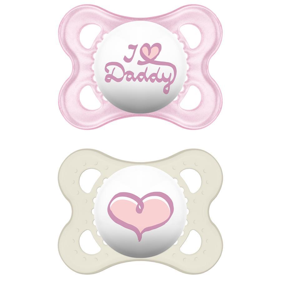 MAM Silicone Fopspeen Original I love Daddy 0-6 maanden voor meisjes roze