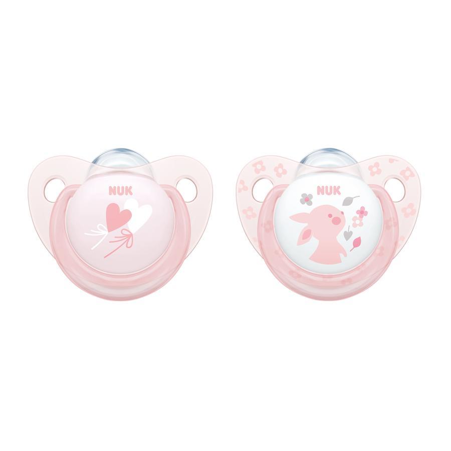 NUK Schnuller Baby Rose Trendline rosa Gr. 1 Silikon 2 Stück