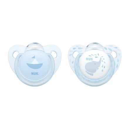 NUK Schnuller Baby Blue Trendline blau Gr. 1 Silikon 2 Stück