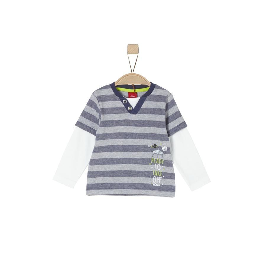 s. Olive r Chlapecké tričko s dlouhým rukávem light grey melange