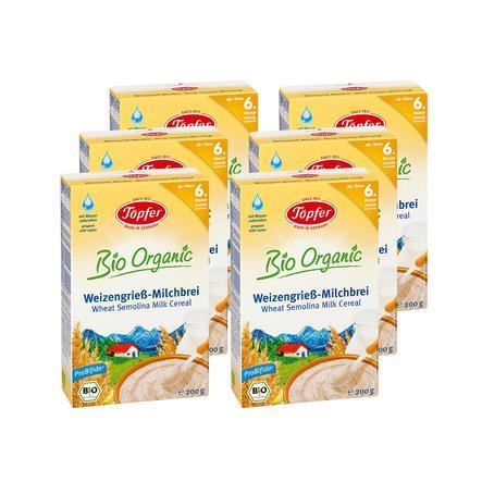 Töpfer Bio Weizengrieß Milchbrei 6 x 200 g