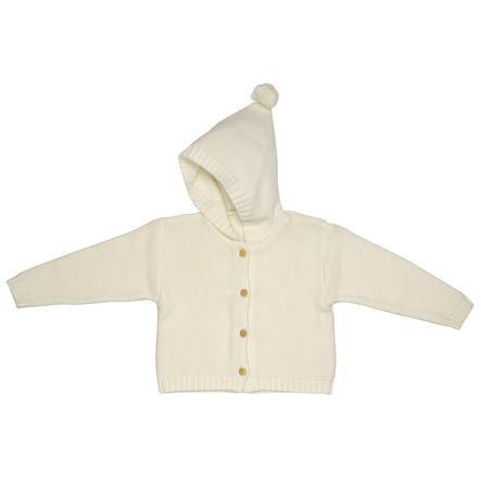 maximo Cardigan Hood eko-wełna biała wełna