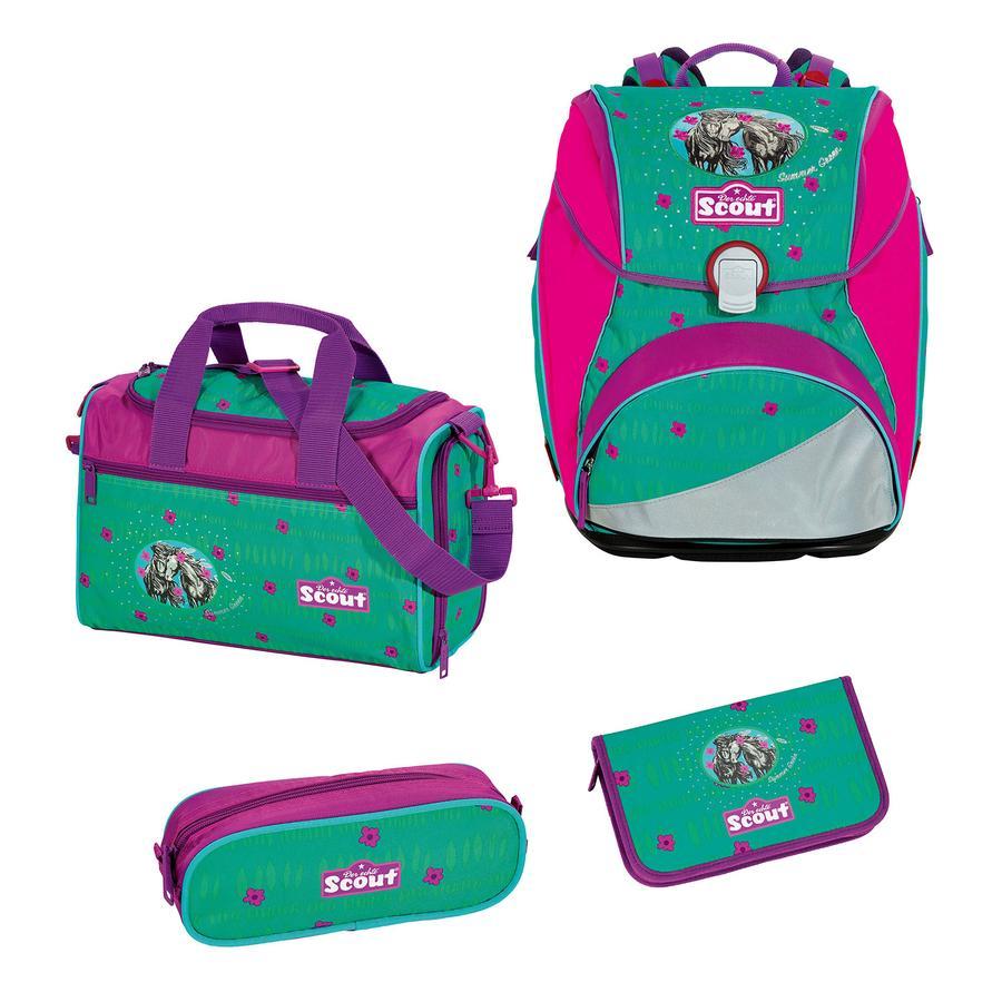SCOUT Alpha Plecak z akcesoriami szkolnymi, 4-częściowy - Summer Green
