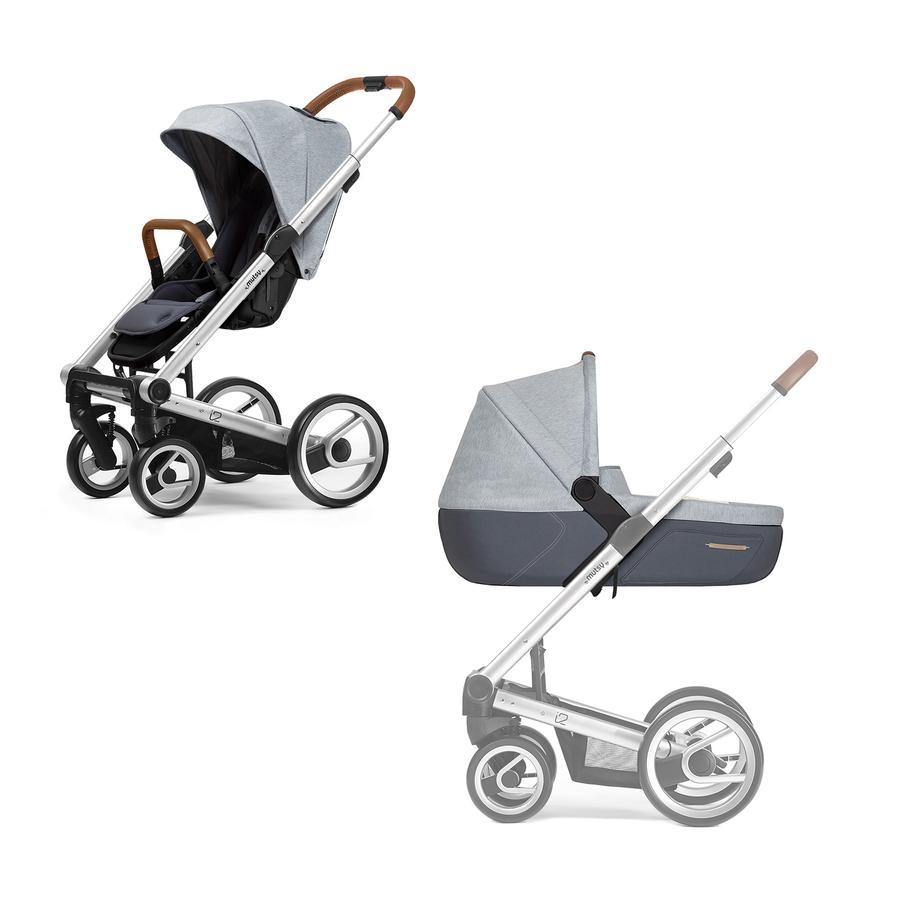 mutsy i2 Kombi-Kinderwagen komplett Silber/Pure Cloud PURE Edition