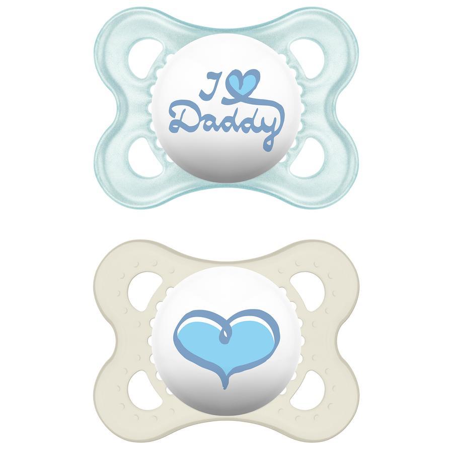 MAM Silicone Fopspeen Original I love Daddy 0-6 maanden voor Jongen blauw