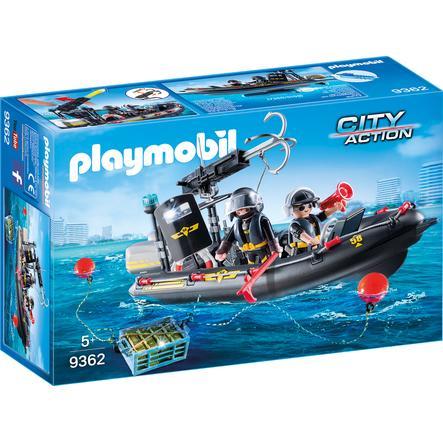 PLAYMOBIL® CITY ACTION Bateau pneumatique policiers d'élite 9362