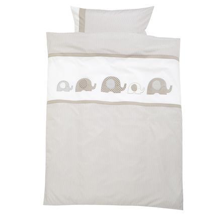 ALVI Sängkläder Elefant beige 100x135 cm