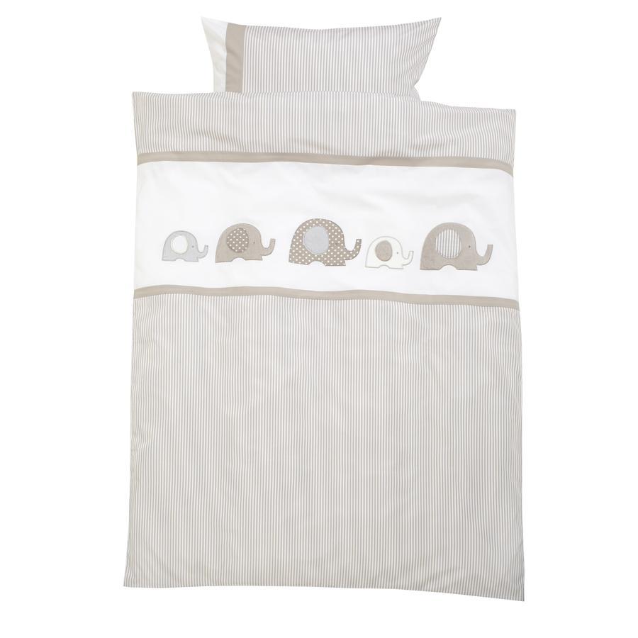 Alvi® Parure de lit enfant éléphant beige 100x135 cm