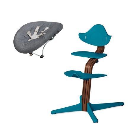 NOMI by evomove Syöttötuoli ja sitteri, pähkinä / ocean