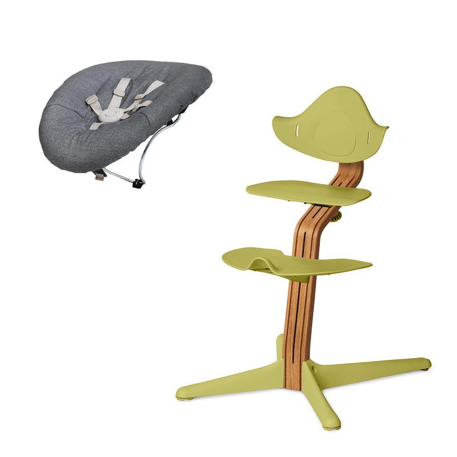 nomi by evomove Krzesełko do karmienia z leżaczkiem olejowany/limonkowy