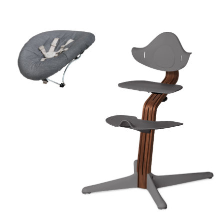 nomi by evomove Jídelní židlička s houpátkem Walnut/Grey