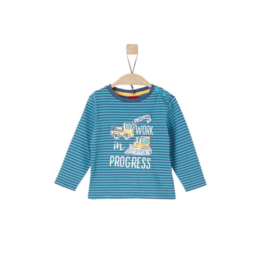 s.Oliver Boys T-shirt met lange mouwen met turquoise strepen