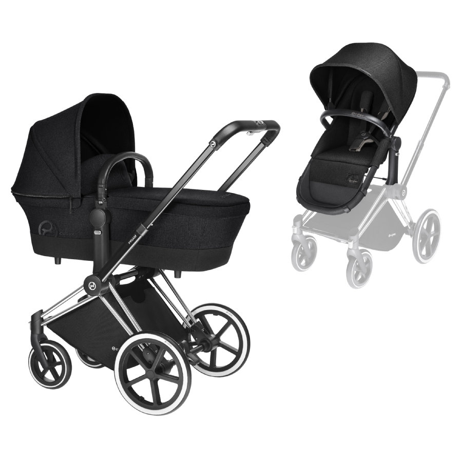 Cybex PLATINUM Kinderwagen Priam Set Chrome mit 2-in-1 Sitz Happy Black