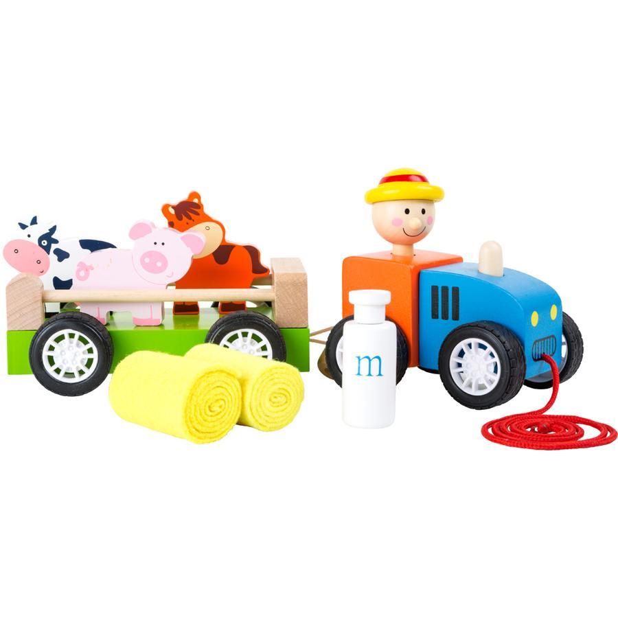 small foot® by Legler Dřevěný traktor a farmář se zvířaty