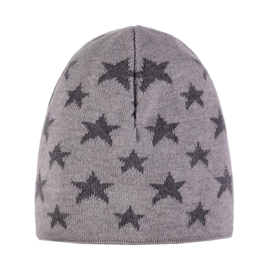 TICKET TO HEAVEN Strickmütze, grau mit Sternen