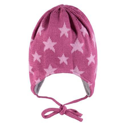 TICKET TO HEAVEN Stickad mössa, rosa med stjärnor