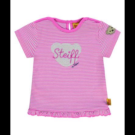 Steiff Girls Langarmshirt, rosa gestreift
