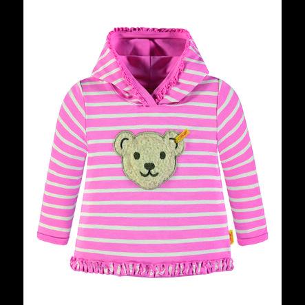 Steiff Girls Sweatshirt mit Kapuze, rosa gestreift