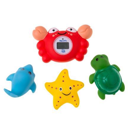 Rotho Babydesign Termometro digitale da bagno granchietto con 3 giochini inclusi
