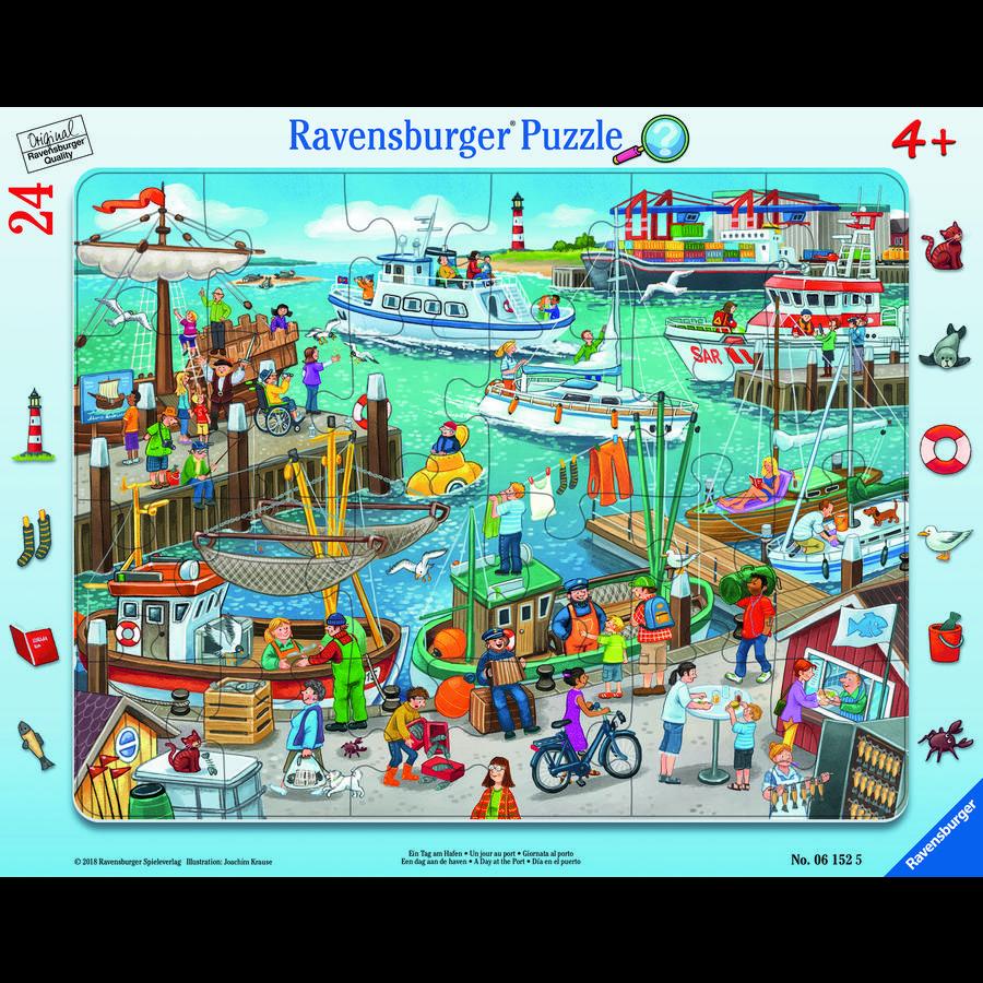 Ravensburger Framepuzzel - Een dag in de haven, 24 stukken