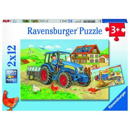 Ravensburger Pussel 2x12 bitar - Byggarbetsplats och gård