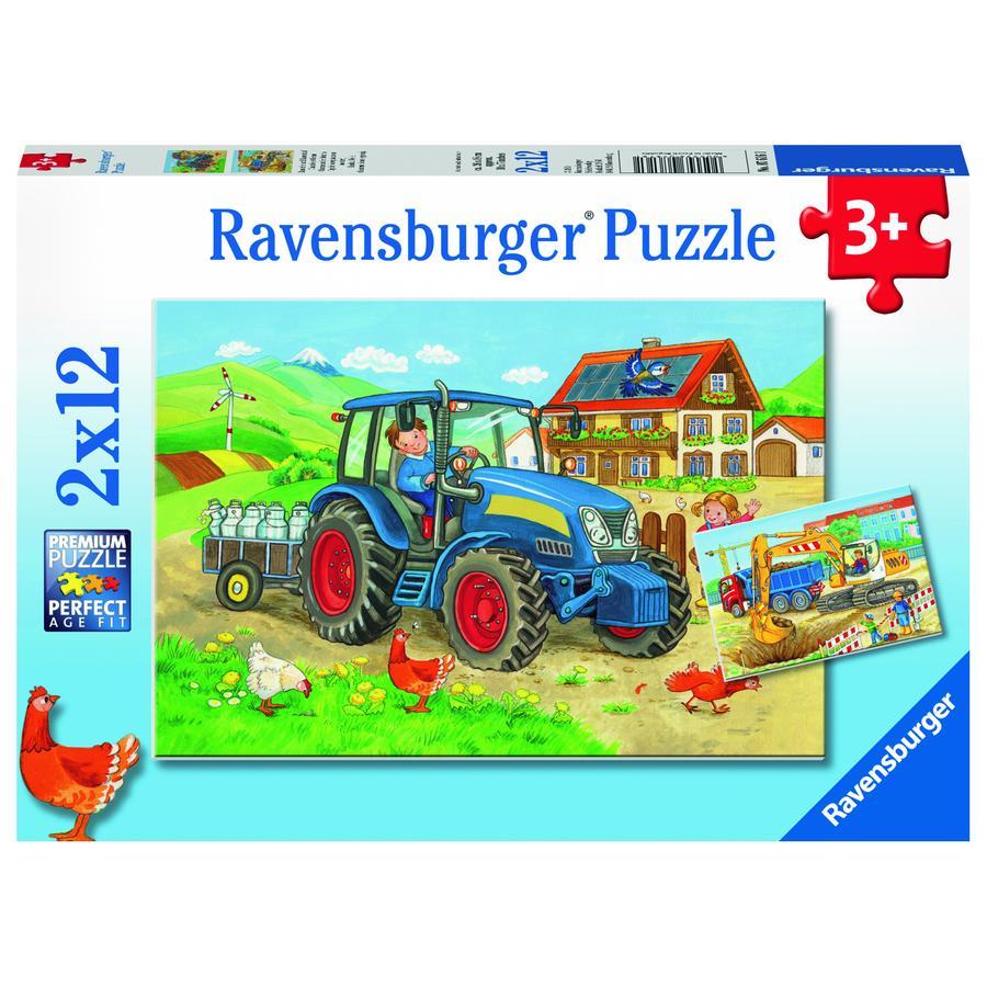 Ravensburger Puzzle 2x12 Teile - Baustelle und Bauernhof