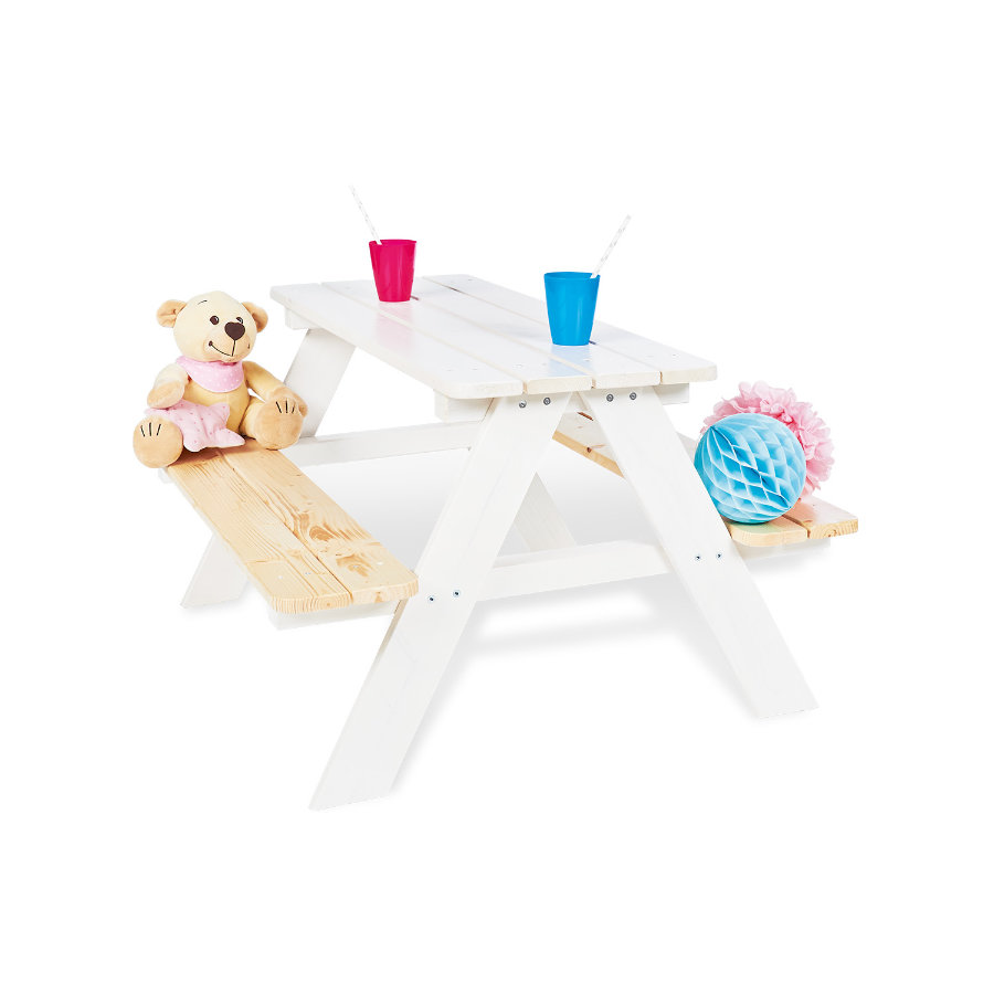 Pinolino Set Tavolino con panca Nicki per 4, bianco