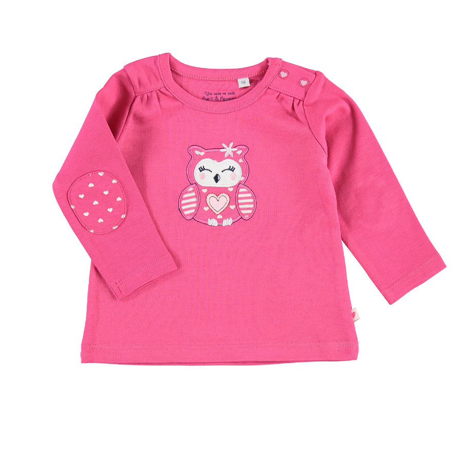 SALT AND PEPPER Girls Langarmshirt Eule rosy pink