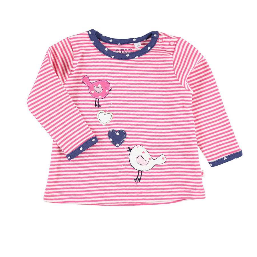 SALT AND PEPPER Girl s strepen op het overhemd met lange mouwen Happy rooskleurig roze
